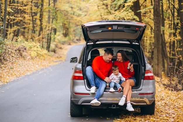 Familie mit einem kleinen sohn im herbstpark, der im auto sitzt Kostenlose Fotos