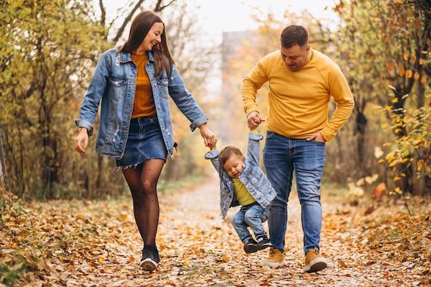 Familie mit einem kleinen sohn im herbstpark Kostenlose Fotos