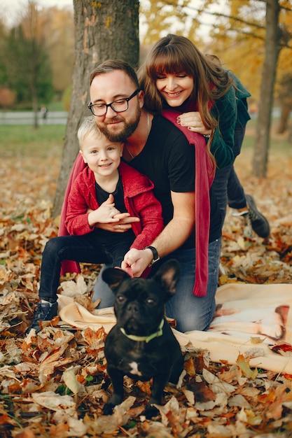 Familie mit kleinem sohn in einem herbstpark Kostenlose Fotos