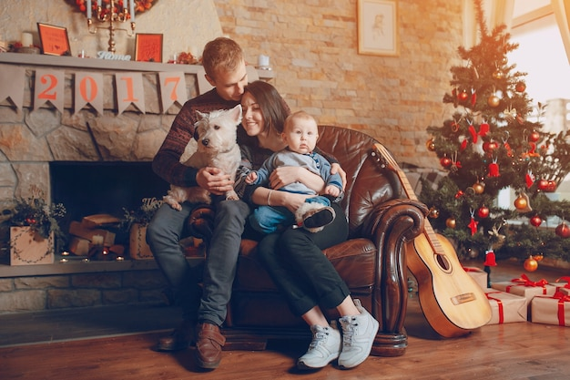 familie sitzt auf einem sofa mit hund zu weihnachten download der kostenlosen fotos. Black Bedroom Furniture Sets. Home Design Ideas