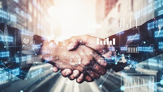 Fantasievoller visueller business-handshake mit computergrafik von investitionsdaten Premium Fotos