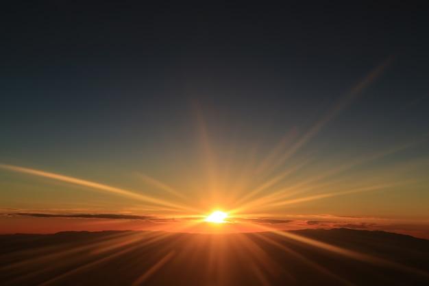 Fantastische ansicht des sonnenaufgangs über den wolken gesehen vom flugzeugfenster Premium Fotos