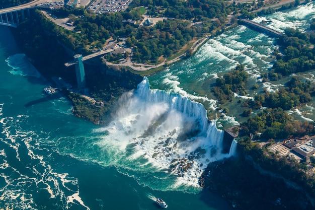 Fantastische luftaufnahmen der niagarafälle, ontario, kanada Premium Fotos