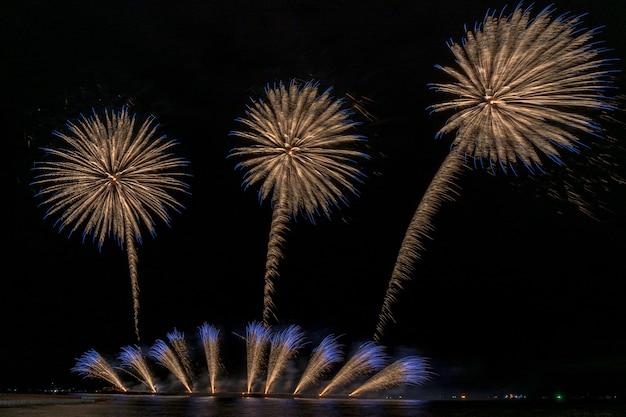 Fantastische multicolor feuerwerk feier vom großen boot über das meer, feier conc Premium Fotos