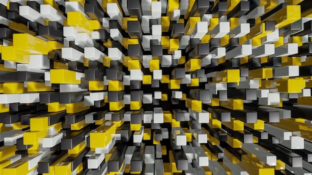 Farbenreiche quadrate verdrängten abstraktes stadtbild 3d Premium Fotos