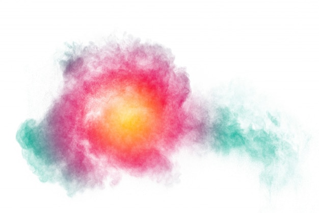 Farbstaubspritzenwolke auf hintergrund. gestartete bunte partikel im hintergrund. Premium Fotos