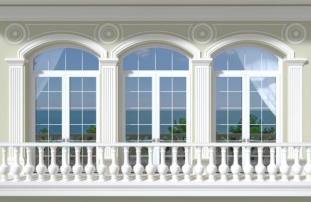 Fassade mit bogenfenstern und meerblick Premium Fotos