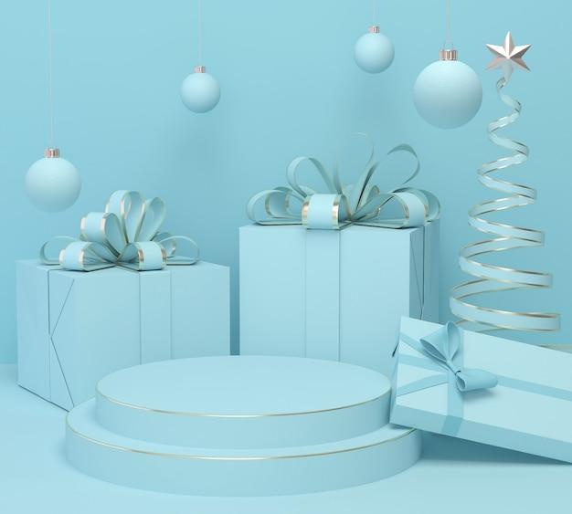 Feiertags-weihnachtspastellfarbhintergrund mit einem geschenkbox- und podiumausstellungsstand, wiedergabe 3d. Premium Fotos