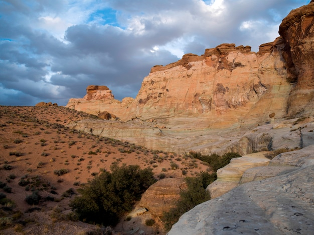 Felsformationen auf einer landschaft, amangiri, canyon point, hoodoo trail, utah, usa Premium Fotos