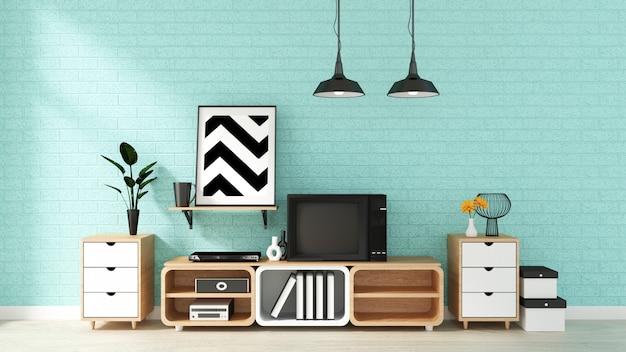 Fernsehmodell auf tadelloser wand im japanischen wohnzimmer. 3d-rendering Premium Fotos