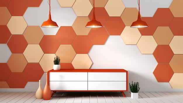 Fernsehregal im modernen leeren raum mit anlagen auf orange hexagonfliesenhintergrund Premium Fotos