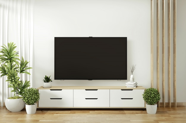 Fernsehregal in den modernen leeren raum- und dekorationsanlagen auf dem weißen wandboden hölzern. 3d-rendering Premium Fotos