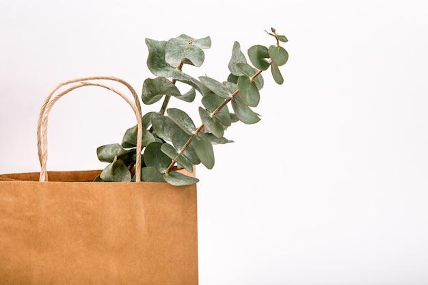 Fertigen sie braunen papiereinkaufstaschen-weißhintergrund frühlingskonzept an Premium Fotos