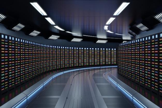 Fiction interieur rendering sci-fi raumschiff korridore blaues licht, server room network mit mehrfarbigen lichtern. Premium Fotos