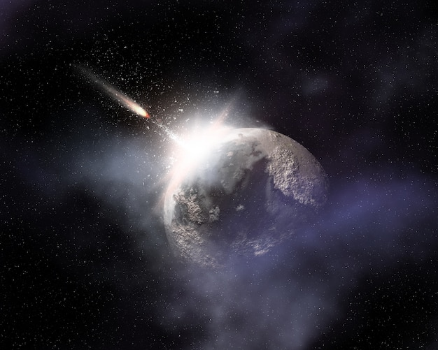 Fiktive raum hintergrund mit kometen fliegen in richtung fiktiven planeten Kostenlose Fotos