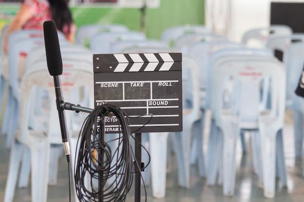 Film, kamera, tafel, mikrofon Premium Fotos