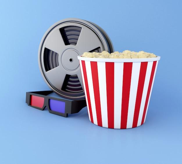 Filmrolle 3d, popcorn und gläser 3d. Premium Fotos
