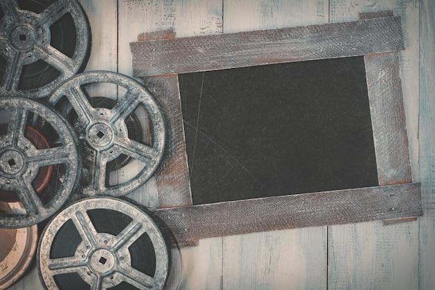 Filmrollen und eine tafel Premium Fotos