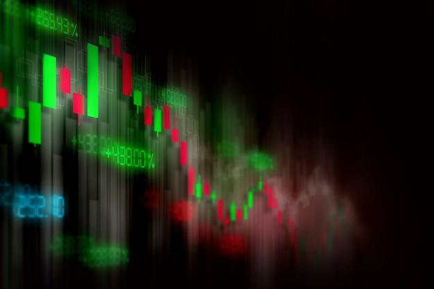 Finanzbörsediagrammhintergrund, technologieschirm Premium Fotos
