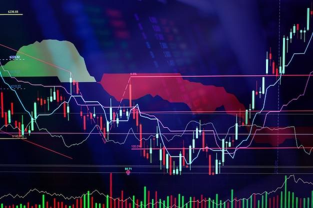 Finanzmarktdiagramm diagramm des börsegeschäftsmarkt-investitionshandelsbildschirmes Premium Fotos