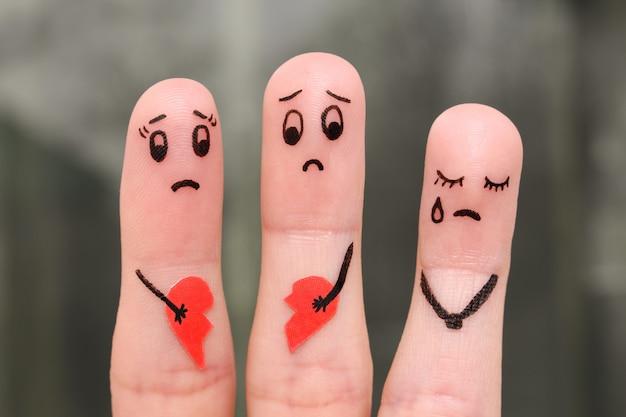 Fingerkunst der familie während des streites. Premium Fotos