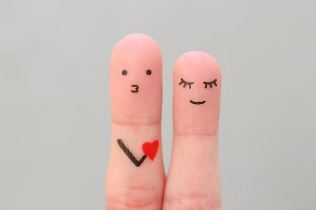 Fingerkunst des glücklichen paares. konzept des mannes, der der frau seine liebe gesteht. Premium Fotos