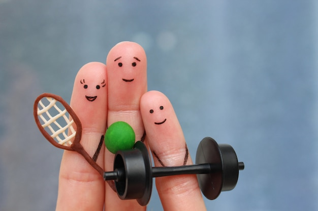 Fingerkunst einer glücklichen familie im sport. Premium Fotos