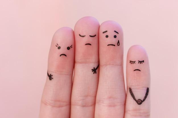 Fingerkunst unzufriedener menschen. Premium Fotos