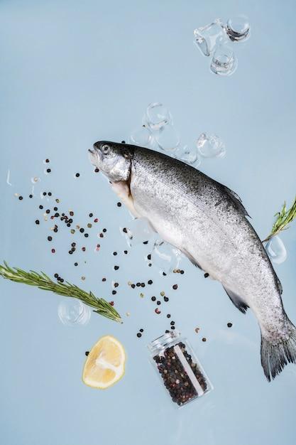 Fisch mit gewürzen und eiswürfeln Premium Fotos