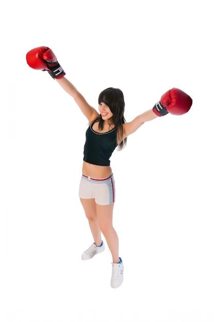 Fit mädchen mit boxhandschuhen Kostenlose Fotos