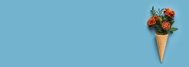Flach gelegte eistüte mit ringelblumen auf pastellblau Premium Fotos