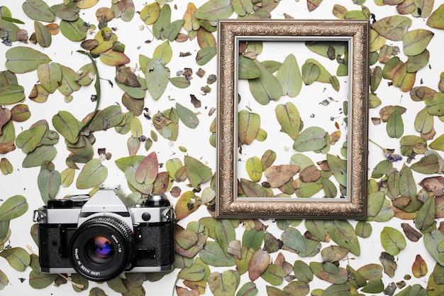 Flache lage des rahmens mit blumenkonzept Kostenlose Fotos