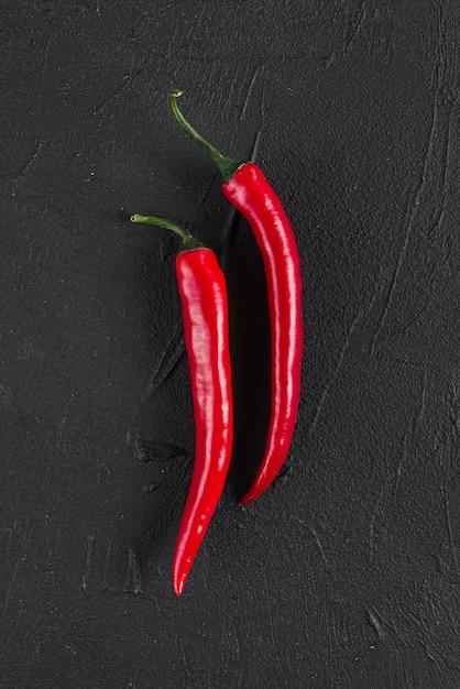 Flache lage von chili Kostenlose Fotos