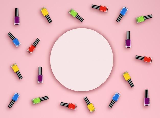 Flache lagefarbflasche mit nagellack auf rosa hintergrund. ansicht von oben. flach liegen Premium Fotos