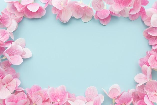 Flache legen rosa hortensie blumen rahmen Kostenlose Fotos