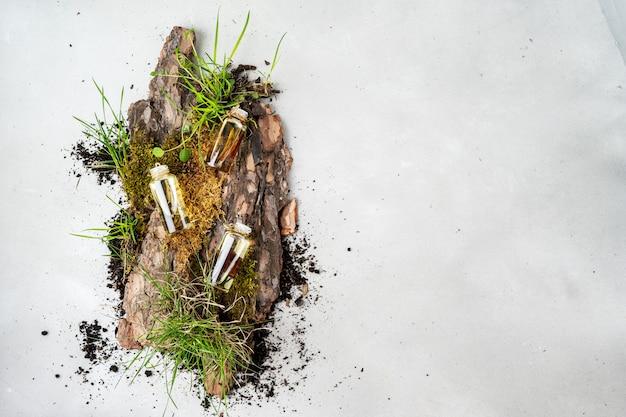 Flacher aufbau mit drei glasflaschen organischer kosmetik der körperpflege mit öl frangipani, sandelholz, patschuli Premium Fotos