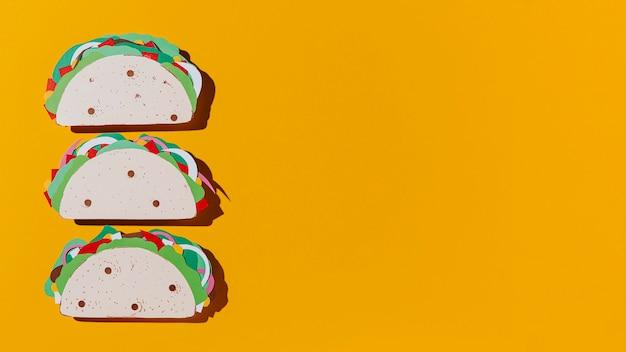 Flacher papier-tacos-rahmen Kostenlose Fotos