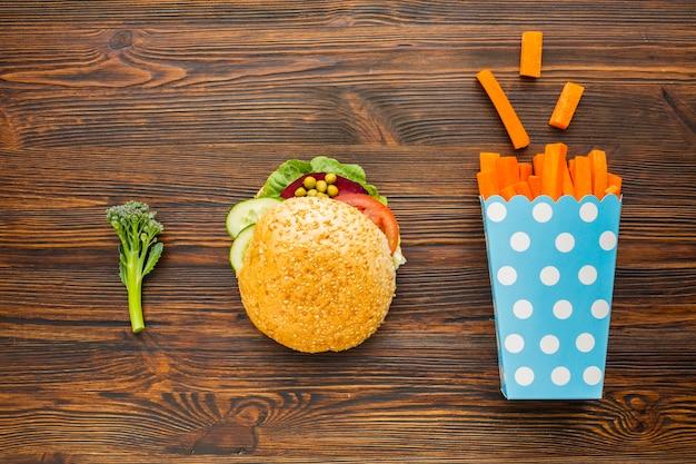 Flaches, veganes fast food Kostenlose Fotos