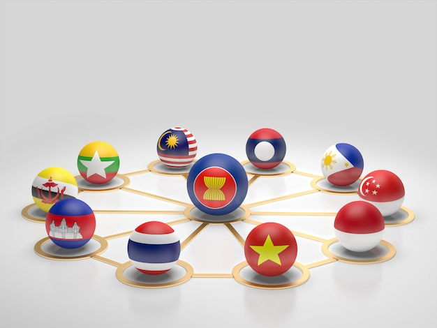 Flagge der asean-länder.3d-rendering. Premium Fotos