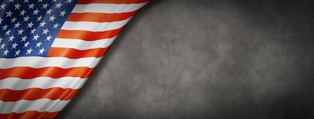 Flagge der vereinigten staaten auf betonwand Premium Fotos