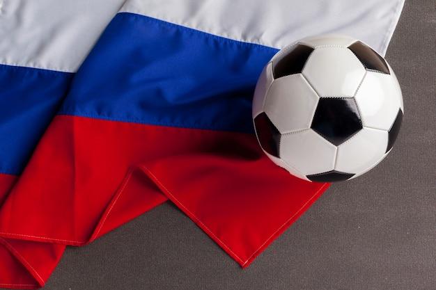 Flagge russlands mit fußball Premium Fotos