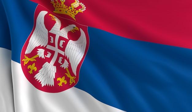 Flagge serbiens Premium Fotos