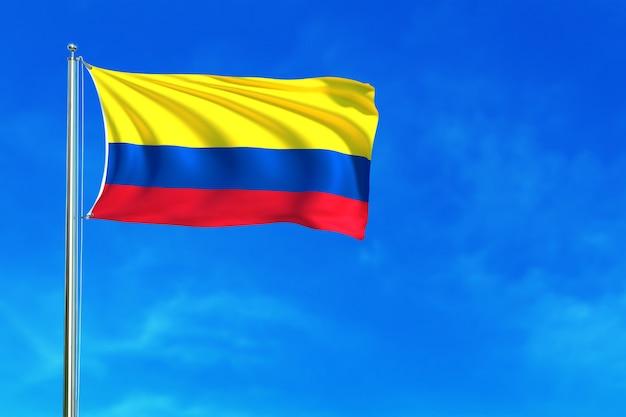 Flagge von colombiaon die wiedergabe des hintergrundes des blauen himmels hintergrund Premium Fotos