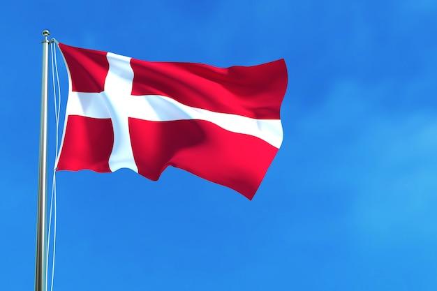 Flagge von dänemark auf der wiedergabe des hintergrundes des blauen himmels hintergrund Premium Fotos