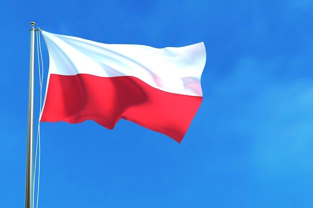 Flagge von indonesien auf der wiedergabe des hintergrundes des blauen himmels hintergrund Premium Fotos