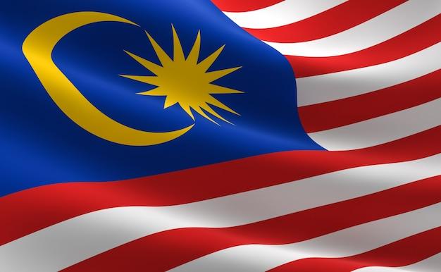 Flagge von malaysia. illustration der malaysischen flagge winken. Premium Fotos