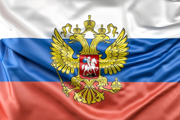 Flagge von russland mit wappen Kostenlose Fotos