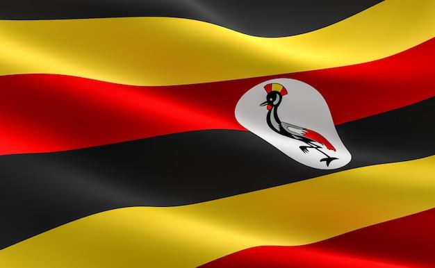 Flagge von uganda. illustration der ugandischen fahne winken. Premium Fotos
