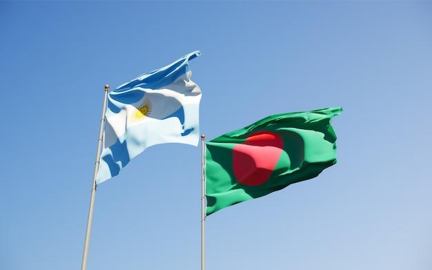 Flaggen von argentinien und bangladesch Premium Fotos