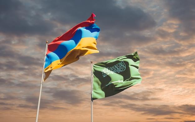 Flaggen von saudi-arabien und armenien. 3d-grafik Premium Fotos